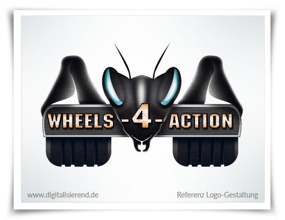 Logo, Gestaltung, Referenz, Wheels 4 Action, digitalisierend, Dirk Neumann, Hallo AD